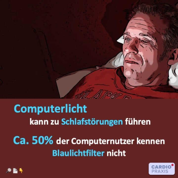 Studie über Computerlicht (Blaulicht) und den Zusammenhang zwischen Blaulichtstrahlung und Schlafstörungen.